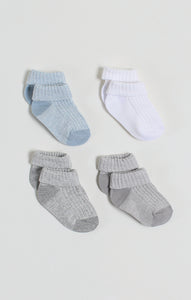 Socks - 4 Pk Baby Boy Turn-up Crew Socks | Baby Accessories