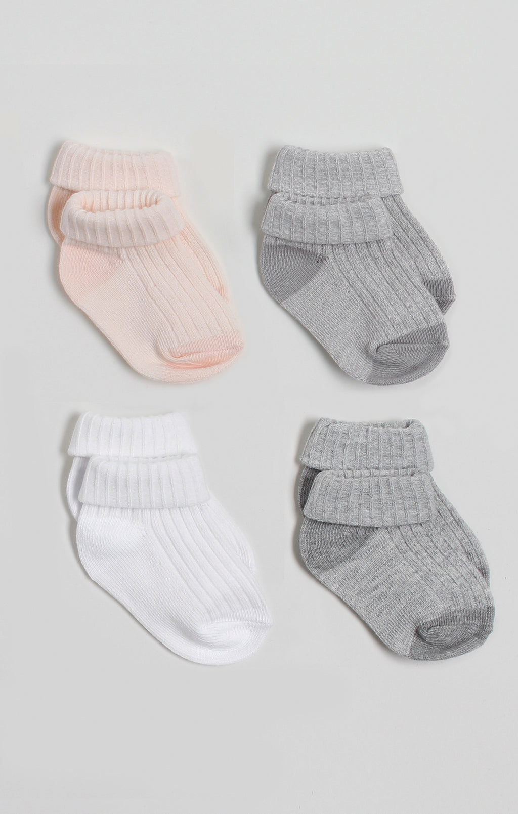 Socks - 4 Pk Baby Girl Turn-Cuff Crew Socks | Baby Accessories