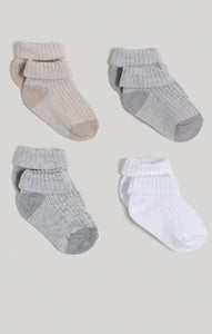 Socks - 4 Pk Neutral Turn-Cuff Crew Socks | Baby Accessories