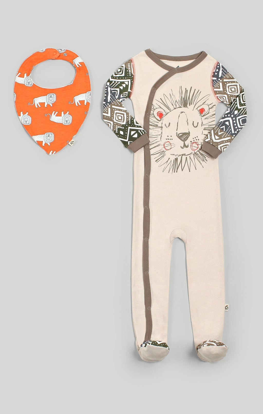 Baby Clothes | Baby Lion Sleeper & Bib Set