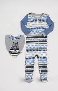 Baby Clothes | Mr. Bear Sleeper & Bib Set