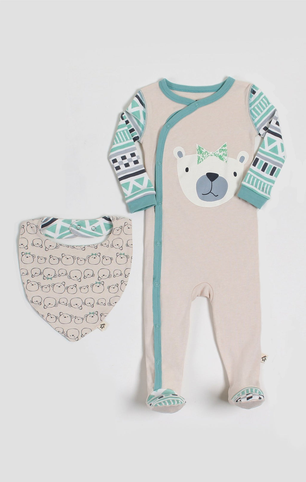 Baby Clothes | Miss Bear Bib & Sleeper Set