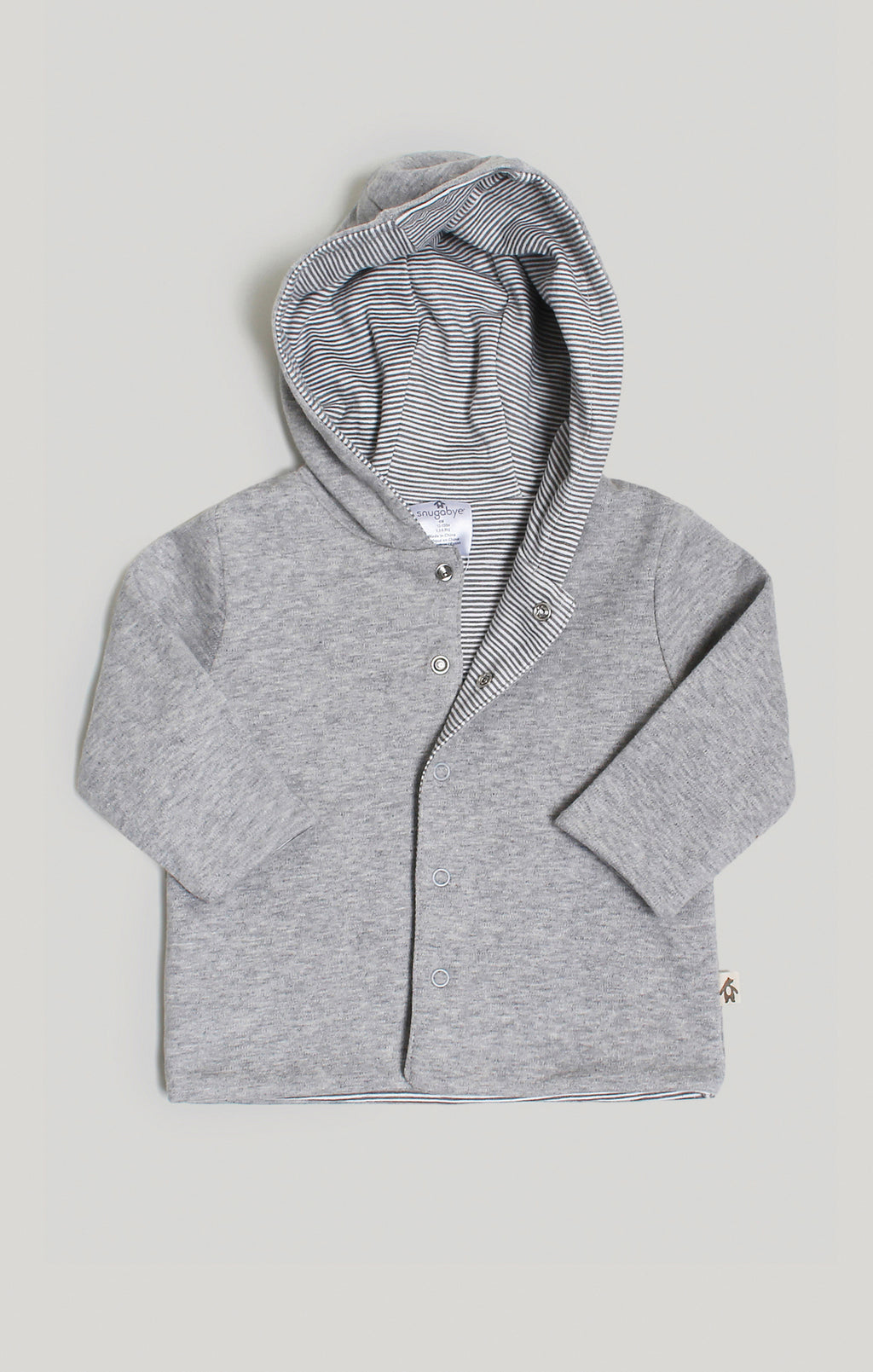 Baby Clothes - Reversible 2 Gray Hoodies in 1
