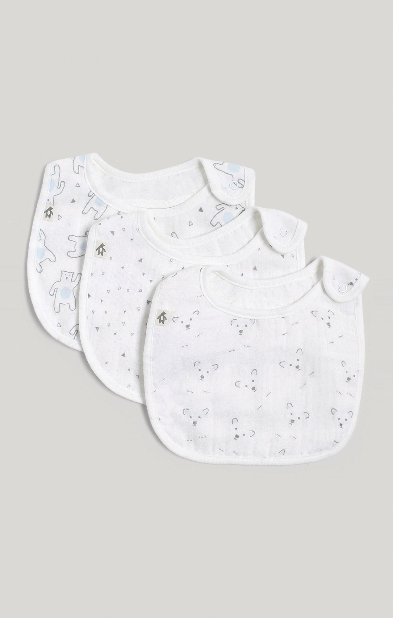 Bib - 3 Pk of Baby Boy Muslin Bibs | Baby Accessories
