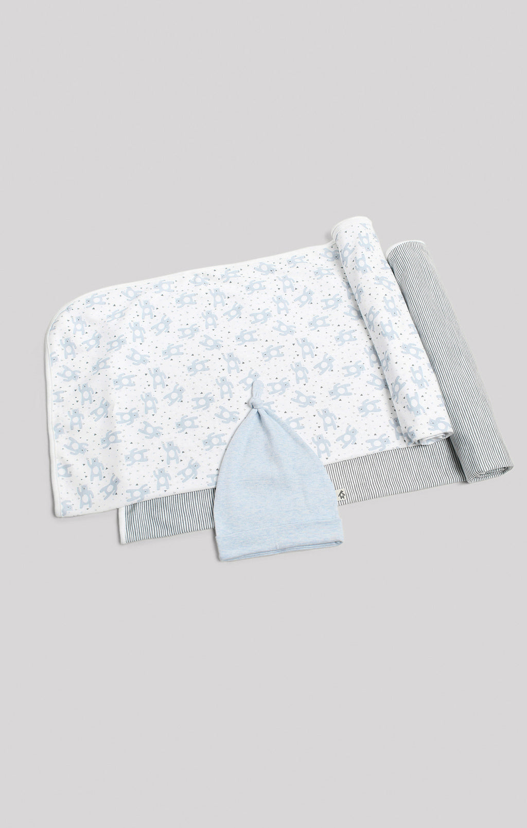 Blanket | 2 Receiving Blankets & Beanie Set - Bears & Stripes