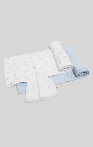 Blanket Bear & Blue - 2 Receiving Blankets & Beanie Set