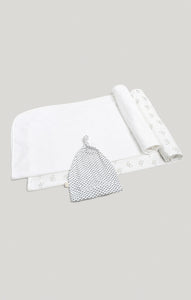 2 Receiving Blankets & Beanie Set - Raccoon & White