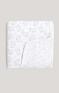 Blanket - Muslin Quilt Reversible Bear & Triangle Pattern