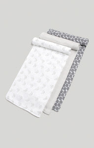 3 Muslin Swaddles - Raccoon, Cream Stripe & Spot Swaddles | Baby Accessories