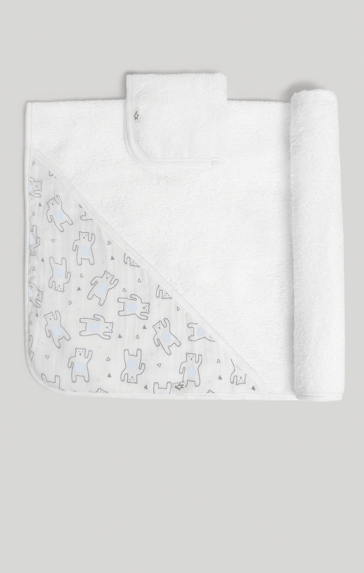 Towel Set - Bear Hooded Towel & Terry Wash Cloth Set | Baby Accessories