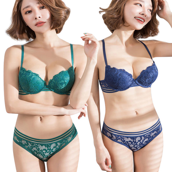 Elegant Women;s Push Up Embroidered Underwire Padded Lace Bra/Underwear Set - Relax Me
