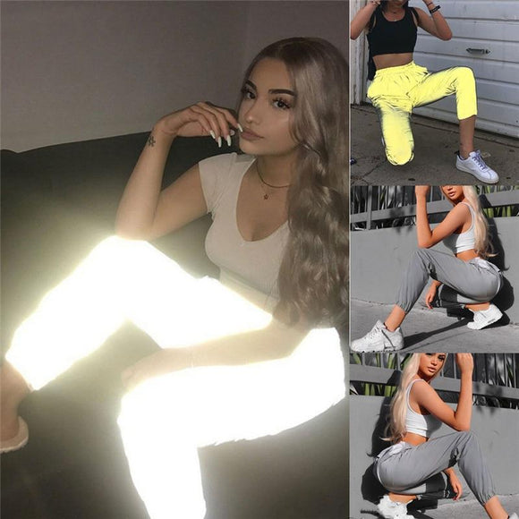 Women's Casual Reflective Pants Elastic Hip Hop Pants Fashion Jogger Trousers - Relax Me
