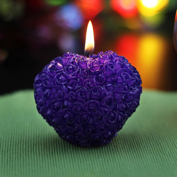 Romance-Handmade Silicone Cake Decoration 3D Heart Rose Candle - Relax Me