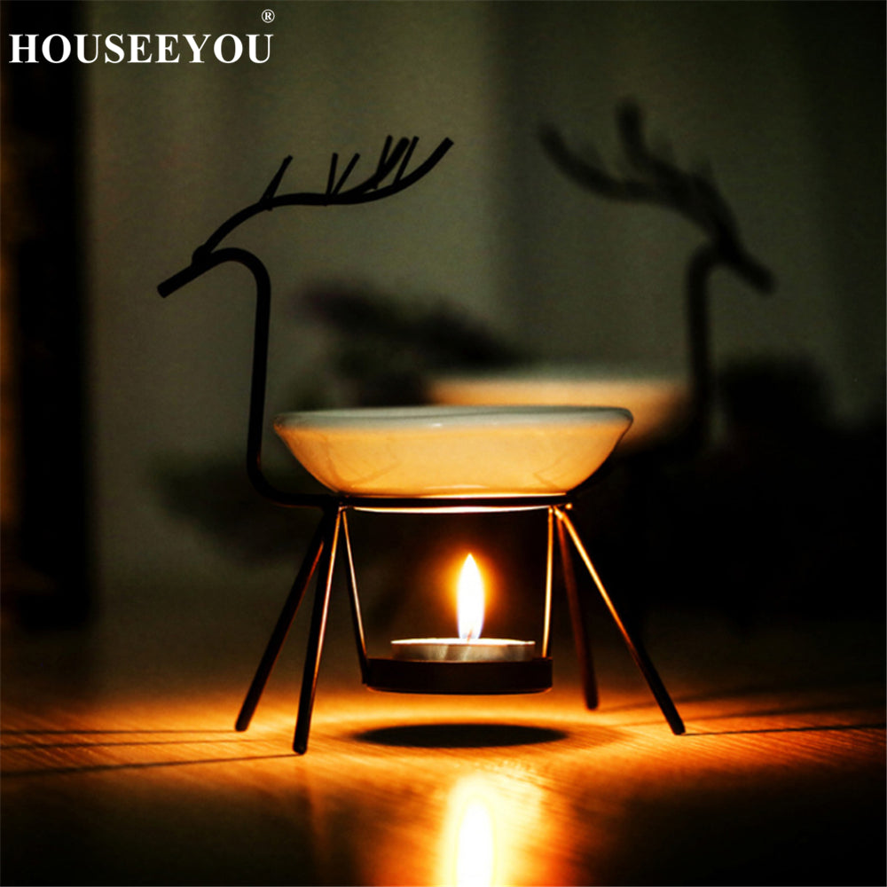 Creative Christmas Deer Iron Ceramic Essential Oil Lamps Aroma Burner for Home Dinner Decoration Aromatherapy Romantic Gifts - Relax Me