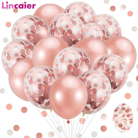 Romance-20pcs Rose Gold Mixed Confetti Balloons - Relax Me