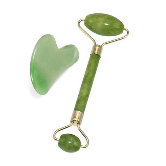 2 in 1 Green Roller and Gua Sha Tools Set by Natural Jade Scraper Massager with Stones for Face Neck Back and Jawline - Relax Me