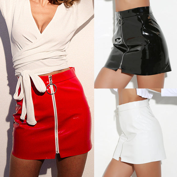Women High Waist Leather Paint Zip Pencil Skinny Slim Short Sexy Mini Skirt - Relax Me