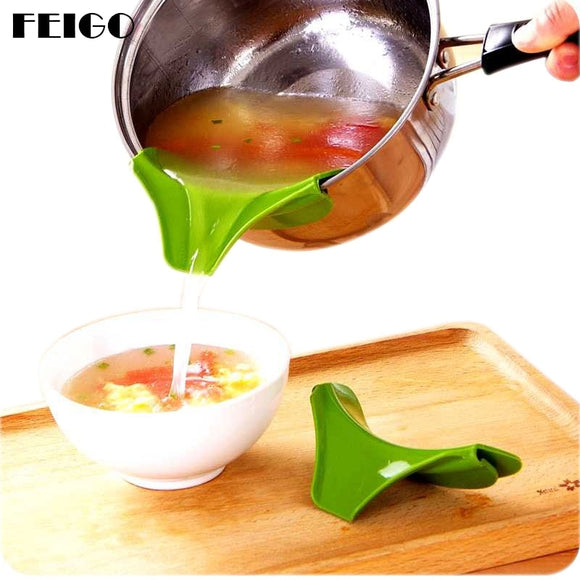 FEIGO 1Pcs Liquid Soup Hopper Spill Resistant Edge Diverter Silicone Cookware Tools Funnel kitchen accessories Best Sellers F832 - Relax Me