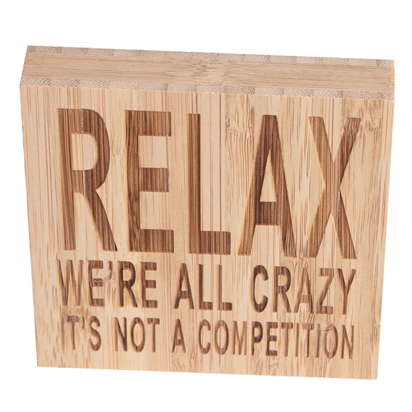 Block Sign Plaque Decorative Words for Home Office Party Decoration - Relax Me