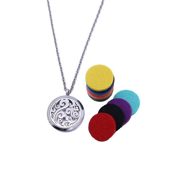 Essential Oil Diffuser Necklace Aromatherapy Locket Pendant Set with 10 Color Refill Pads - Relax Me