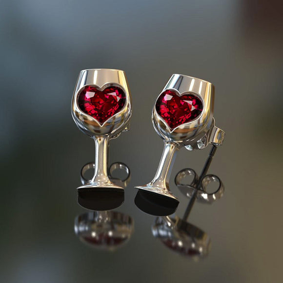 Romance-Crystal Cubic Zircon Love Stone in Wine Glass Earrings  Party Jewelry - Relax Me