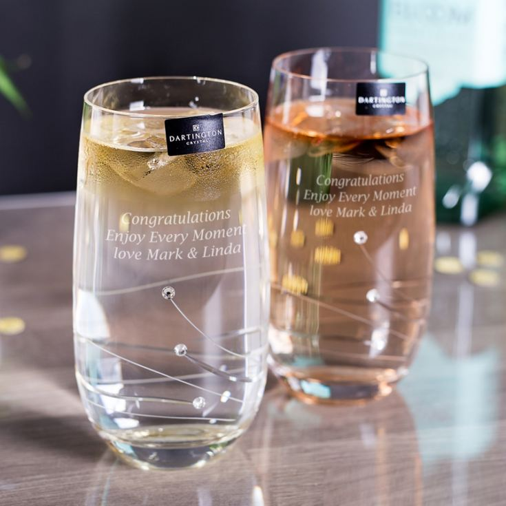 Dartington Crystal Personalized Pair of Glitz Highball Glasses