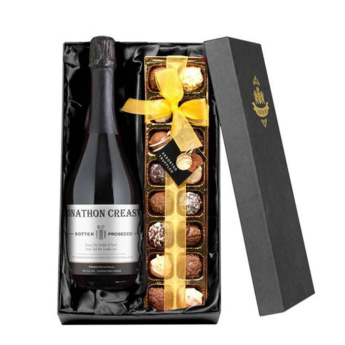 Personalized Prosecco & Chocolates Gift Set