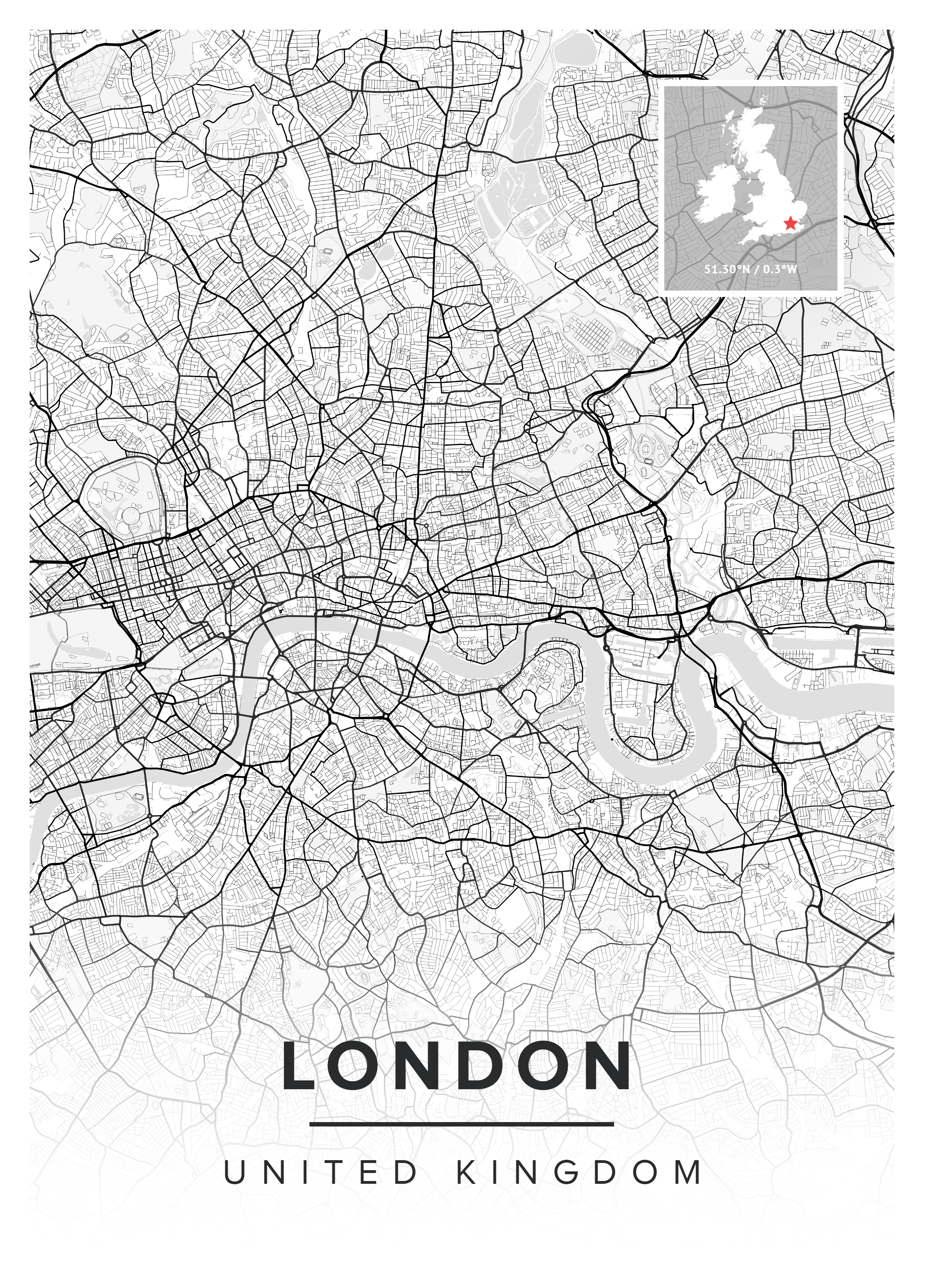 Black and White London Map Print