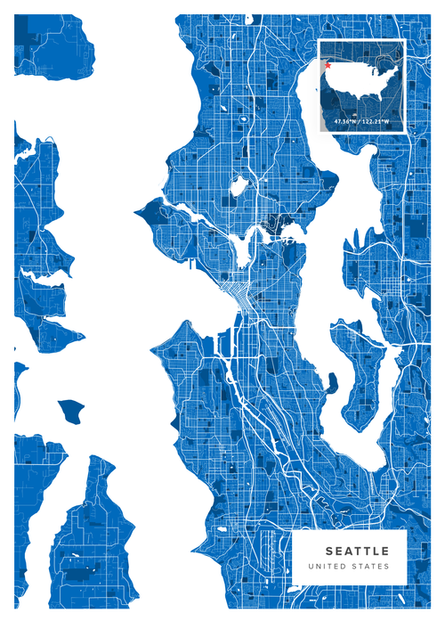 This is a graphic of Printable Map of Seattle intended for public transportation