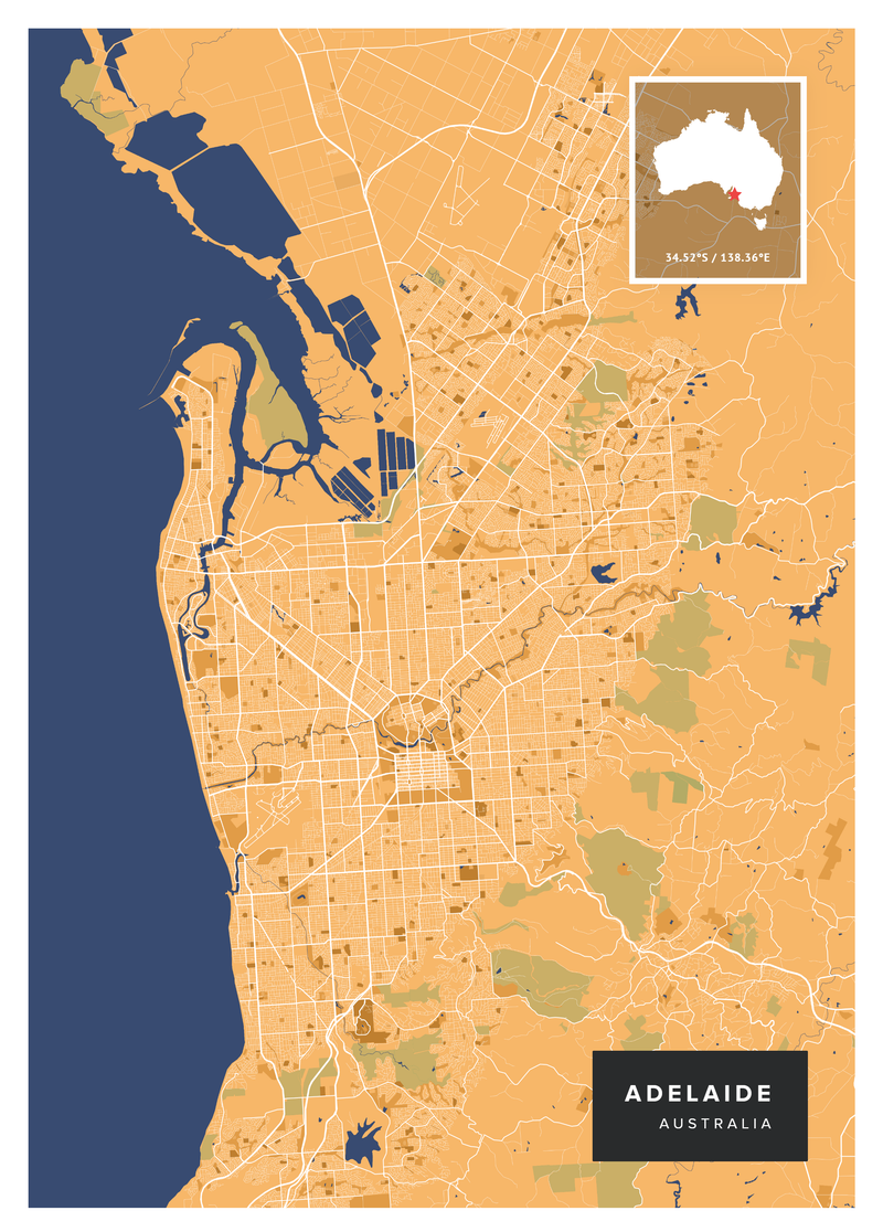 Adelaide Map Poster