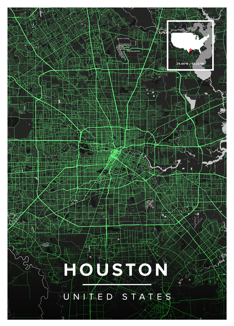 Houston Wall Map