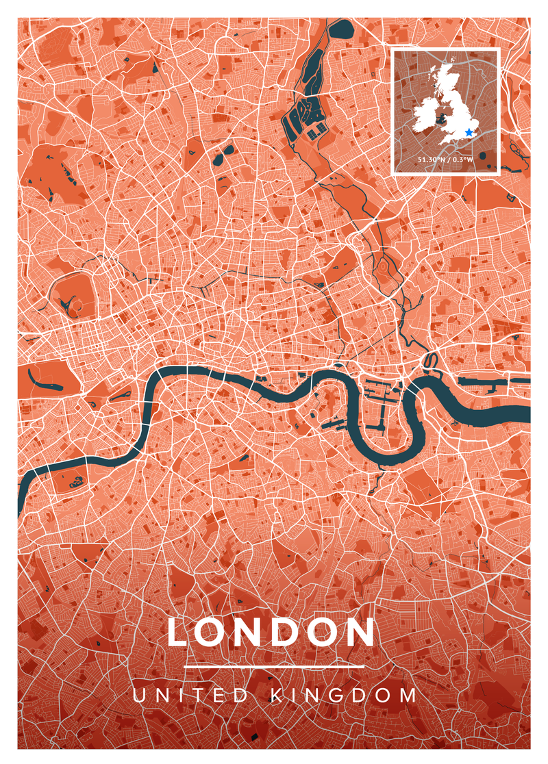 London In A Map.London Map Print