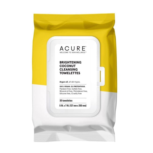 Acure Brightening Coconut Cleansing Towelettes - Face Wipes