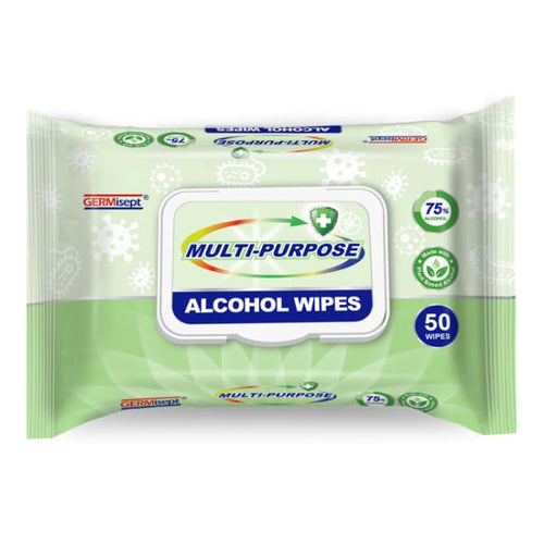 GERMisept Multi-Purpose Alcohol Wipes - 50 pack - Antibacterial Wipes