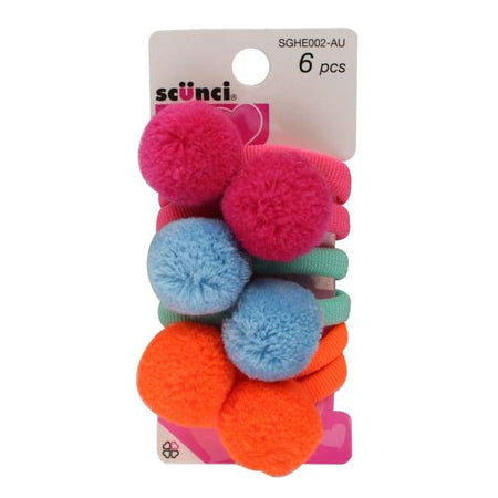 Scunci Hair Pom Poms - 6 Pieces