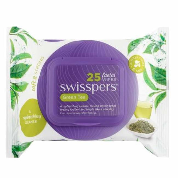 Swisspers Green Tea Facial Wipes 25 Pack - Face Wipes