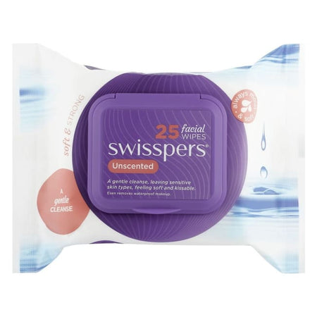 Swisspers Unscented Facial Wipes 25 Pack