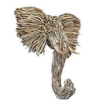 Driftwood Elephant Wall Hanging - Uniqwa Collections wholesale furniture suppliers for interior designers australia