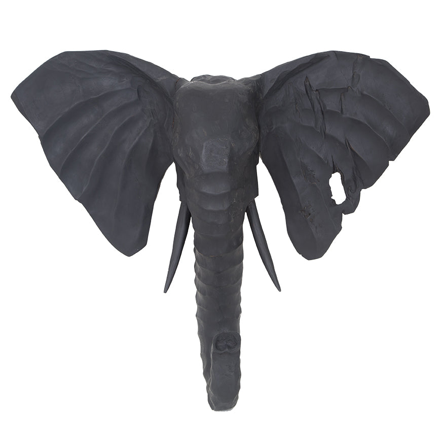 Carved Elephant Wall Art | Charred