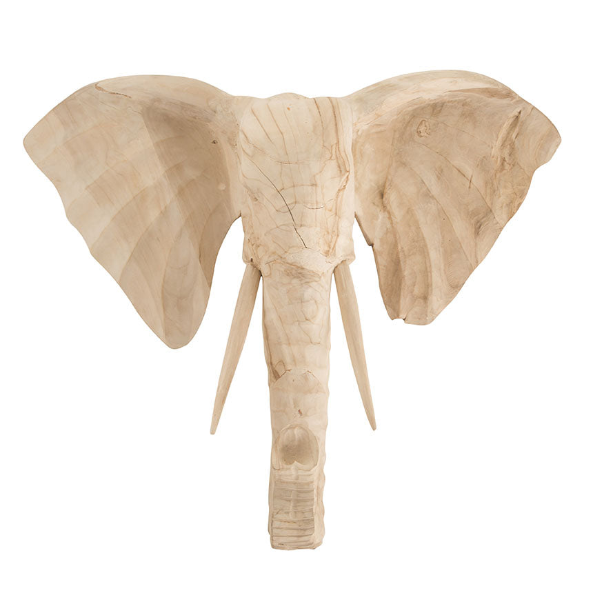 Carved Elephant Wall Art | Bleached