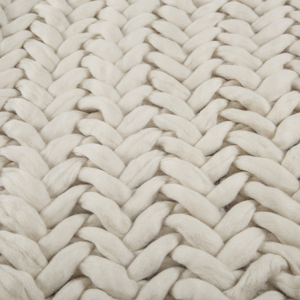 100% Organic Pure Wool Plaid | Herringbone Stitch | Cream