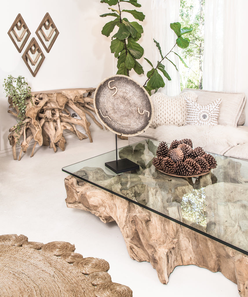 Teak Root Console Table | Bleached