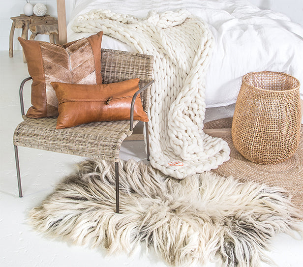 100% Organic Pure Wool Plaid | Cream - Uniqwa Collections wholesale furniture suppliers for interior designers australia