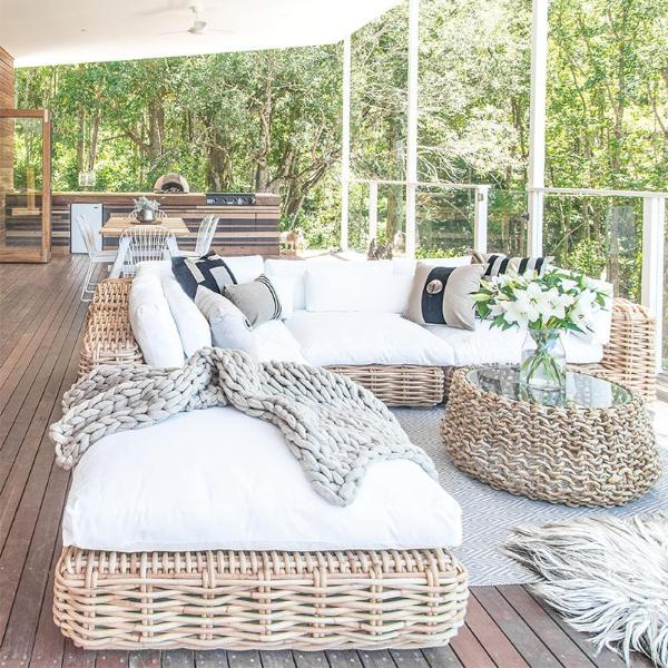 Zulu Outdoor Modular Sofa | Ottoman | White