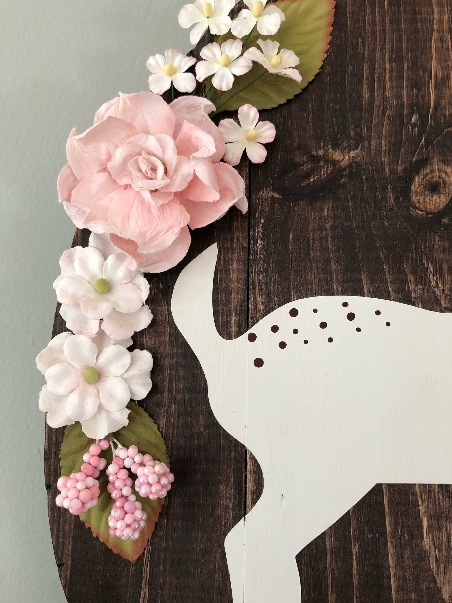 Oval Fawn Sign Stained In Kona With Assorted Light Pink Flower