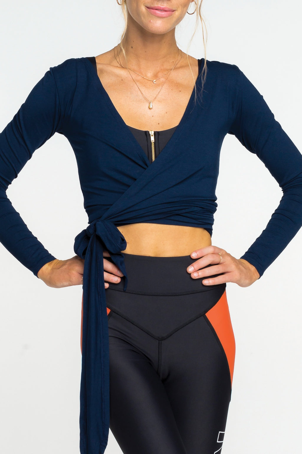 Eva Wrap Top - Navy