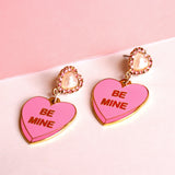 Pearl & Crystal Be Mine Candy Heart Enamel Earrings