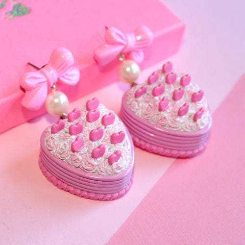 Pink Heart Cake Earrings