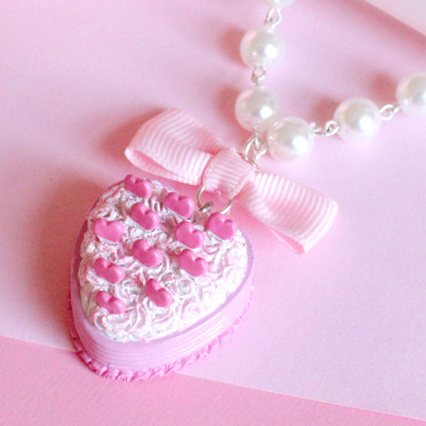 Pink Heart Cake Necklace