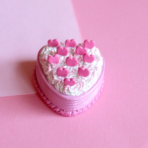 Pink Heart Cake Brooch Pin